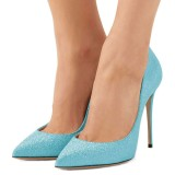 Light Blue Glitter Shoes Stiletto Heel Pumps