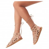 Blush Gladiator Sandals Peep Toe Hollow out Lace up Strappy Sandals