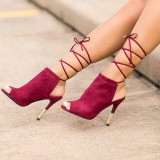 Burgundy Heels Peep Toe Strappy Stiletto Heel Slingback Summer Boots