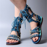 Blue Lace Up Studded Sandals Open Toe Strappy Sandals