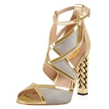 Gold And Silver Dazzling Open Toe Chunky Heel Ankle Strap Sandals