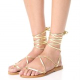 Gold Gladiator Sandals Comfortable Flats Strappy Sandals
