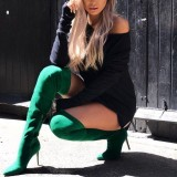 Green Suede Stiletto Heel Thigh High Heel Boots