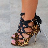 Women's Leopard Print Stiletto Heels Peep Toe Strappy Heels Sandals