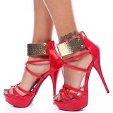 Red Patent Leather Stripper Heels Platform Stiletto Heel Sandals