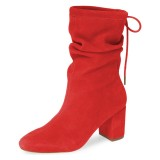 Red Slouch Boots Suede Lace Up Block Heel Boots
