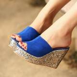 Royal Blue Peep Toe Platform Mule Glitter Wedge Sandals