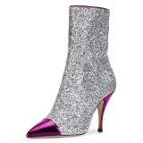 FSJ Purple and Silver Glitter Pointy Toe Fashion Ankle Booties