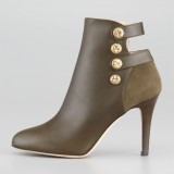 Bronze Round Toe Stiletto Boots Commuting Vintage Boots
