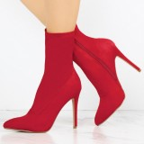 Red Lycra Sock Boots Pointy Toe Stiletto Heel Ankle Booties