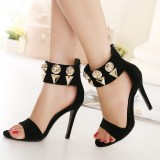 Black Oversize Rivets Suede Stiletto Heels Ankle Strap Sandals
