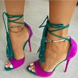 Magenta and Green Stiletto Heels Suede Lace Up Strappy Heels Pumps