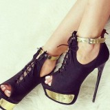 Black and Gold Lace up Boots Ankle Strap Stiletto Heels Ankle Booties