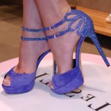 Lavender Evening Shoes Rhinestone Ankle Strap Stiletto Heel Sandals for Ball