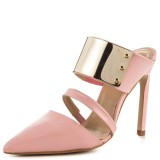 Pink Mule Heels Pointy Toe Metal Embellished Stiletto Heels