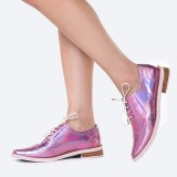 Pink Women's Oxfords Lace up Flats Patent Leather Vintage Shoes