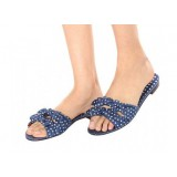 Midnight Blue Polka Dots Bow Sandals Flat Women's Slide Sandals