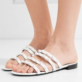White Studs Greek Sandals Open Toe Summer Flat Sandals