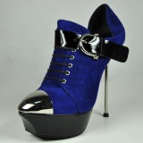 Royal Blue Fashion Boots Platform Stiletto Heels with Buckle