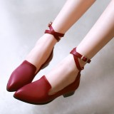 Women's Maroon Ankle Straps Buckle Chunky Heel Vintage Shoes