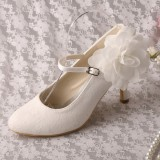 Ivory Wedding Shoes Lace Heels Mary Jane Pumps with Flower