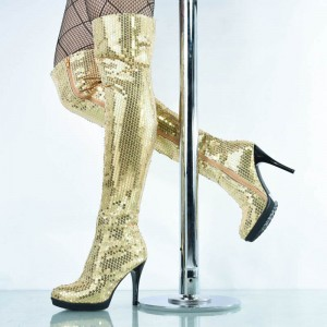 Gold Sequin Boots Closed Toe Over-the-Knee Stripper Boots