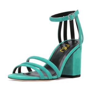 Women's Turquoise Chunky Heels Ankle Strap Sandals Comfortable Shoes