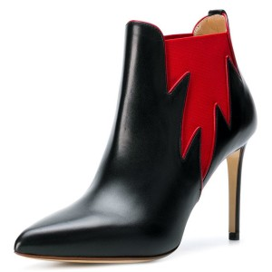 Black and Red Chelsea Boots Stiletto Heel Fashion Ankle Boots
