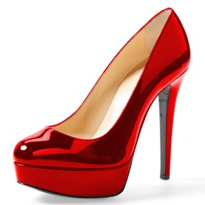 Red Mirror Leather Platform Heels Pumps