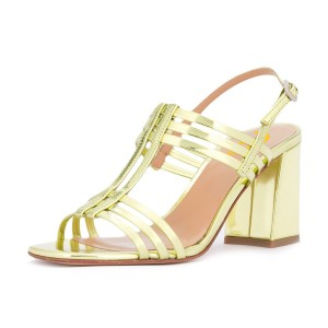 Women's Golden Caged Slingback Block Heel Sandals