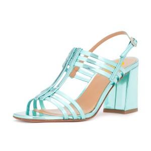 Women's Turquoise Caged Slingback Block Heel Sandals