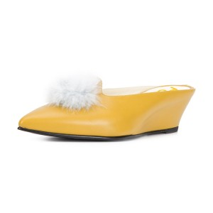 Yellow Closed Toe Wedges Fluffy Ball Mules by FSJ