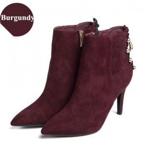 Women's Burgundy Suede Silver Studs Stiletto Boots Ankle Boots
