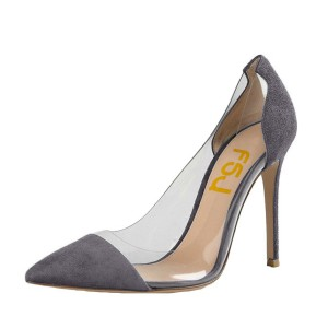 Women's Clear Heels Dark Grey Suede Pointy Toe Stiletto Heels Pumps