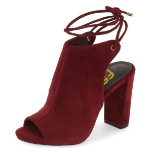Burgundy Peep Toe Slingback Shoes Chunky Heel Strappy Summer Boots