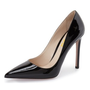 On Sale Black Dress Shoes Pointy Toe Stilettos Heels Office Shoes