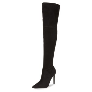 Black Thigh High Heel Boots Pointy Toe Suede Stiletto Heel Boots
