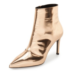 Gold 3 Inches Stiletto Boots Pointy Toe Ankle Boots