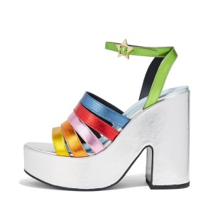 Women's Colorful Platform Chunky Heels Ankle Strap Sandals
