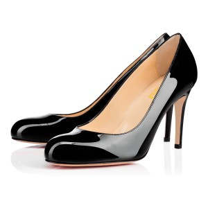 On Sale Office Heels Round Toe Patent Leather Dressy Pumps