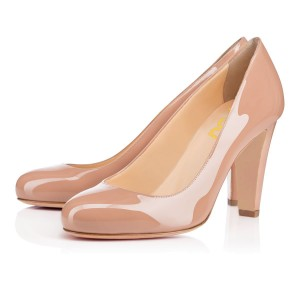 On Sale Blush Heels Round Toe Patent Leather Office Pumps