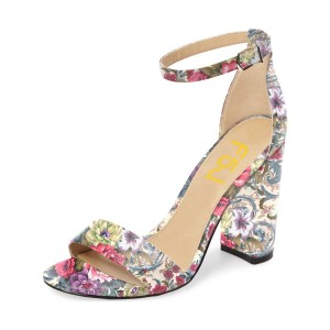 Floral Heels Ankle Strap Open Toe Women's Block Heel Sandals