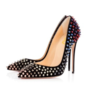 Black Stiletto Heels Pointy Toe Studded Pumps with Colorful Rivets