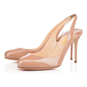 On Sale Blush Stiletto Heels Round Toe Slingback Pumps For Work