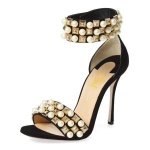 Women's Golden Pearl Decorated Stiletto Heel Bridesmaid Ankle Strap Sandals
