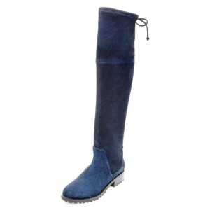 Navy Long Boots Round Toe Flat Suede Over-the-Knee Boots