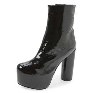 Black Glossy Vegan Boots Cylindrical Heel Platform Ankle Boots