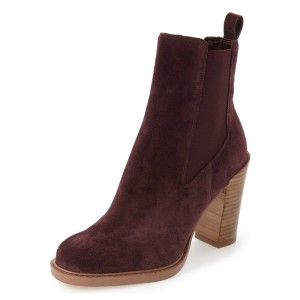 Maroon Chelsea Boots Chunky Heel Round Toe Suede Women's Ankle Boots