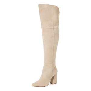 Beige Chunky Heel Suede Wide Calf Boots Pointy Toe Over-the-Knee Boots