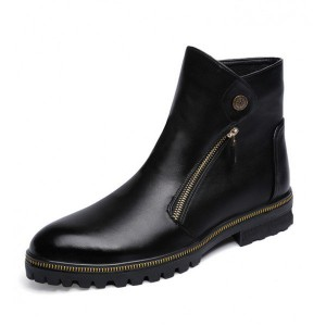 Black Fashion Motorcycle Boots Round Toe Flat Short Boots